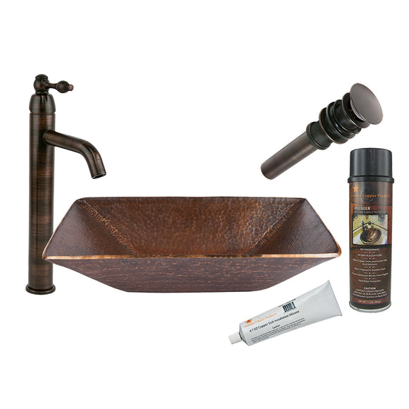 BSP1_PV16RDB 16 Inch Round Hand Forged Old World Premier Copper Vessel Sink with ORB Single Handle Vessel Faucet, Matching Drain and Accessories