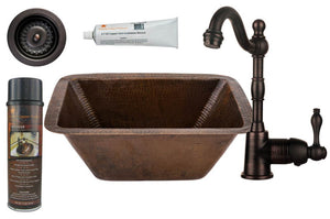 BSP4_BRECDB3-D 17 Inch Rectangle Premier Copper Bar/Prep Sink, ORB Single Handle Bar Faucet, 3.5 Inch Strainer Drain and Accessories