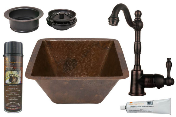 BSP4_BS15DB3-G 15 Inch Square Hammered Premier Copper Bar/Prep Sink,+ORB Single Handle Bar Faucet, 3.5 Inch Garbage Disposal Drain and Accessories