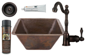 BSP4_BS17DB-D 17 Inch Large Square Hammered Premier Copper Bar/Prep Sink, ORB Single Handle Bar Faucet, 3.5 Inch Strainer Drain and Accessories