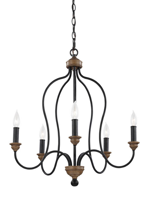 F2998/5DWZ/WO Generation Brands Hartsville Dark Weathered Zinc / Weathered Oak 5-Light Light Chandelier