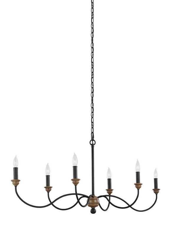 F3000/6DWZ/WO Generation Brands Hartsville Dark Weathered Zinc / Weathered Oak 6-Light Light Chandelier