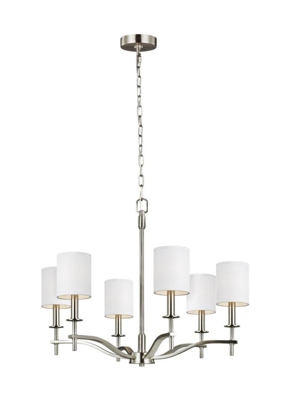 F3311/6SN Generation Brands Hewitt Satin Nickel 6-Light Light Chandelier White Parchment-áParchment