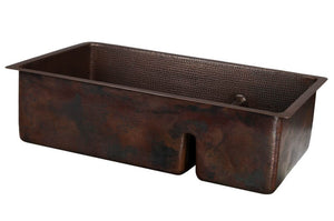 K70DB33199-SD5 33 Inch Hammered Premier Copper Kitchen 70/30 Double Basin Sink with Short 5 Inch Divider