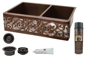 KSP3_KA60DB33229S-NB 33 Inch Hammered Premier Copper Kitchen Apron 60/40 Double Basin Sink w/ Scroll Design and Apron Front Nickel Background w/ Matching Drains and Accessories