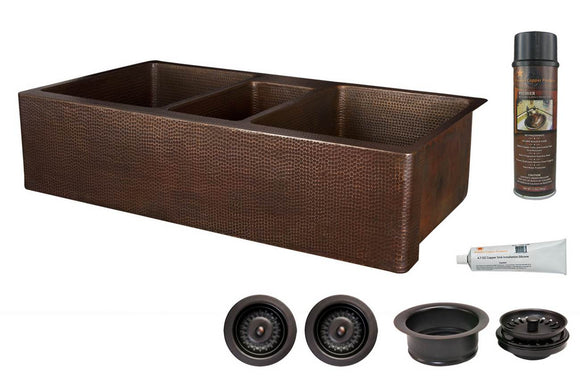 KSP3_KATDB422210 42 Inch Hammered Premier Copper Kitchen Apron Triple Basin Sink w/ Matching Drains and Accessories