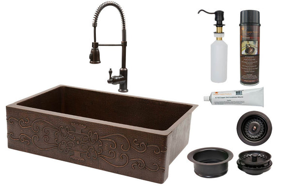 KSP4_KASDB35229S 35 Inch Hammered Premier Copper Kitchen Apron Single Basin Sink w/ Scroll Design with ORB Spring Pull Down Faucet, Matching Drain, and Accessories
