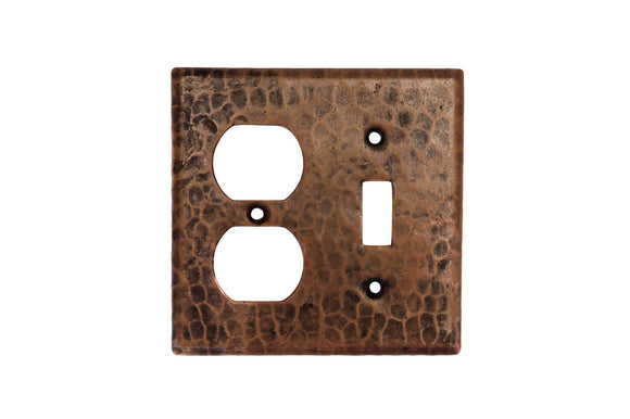 SCOT 4.5 Inch Premier Copper Combination Switchplate, 2 Hole Outlet and Single Toggle Switch