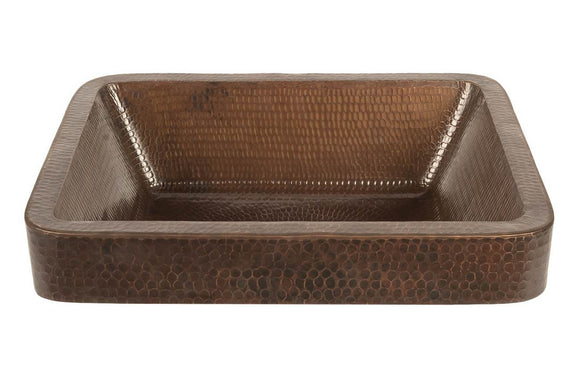 VREC17SKDB 17 Inch Rectangle Skirted Vessel Hammered Premier Copper Sink