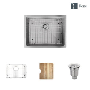 "Rene R1-1015-ADA Single Bowl 3/4"" Radius Undermount Stainless Steel Kitchen Sink in 18-Gauge with Cutting Board, Grid, and Basket Strainer"