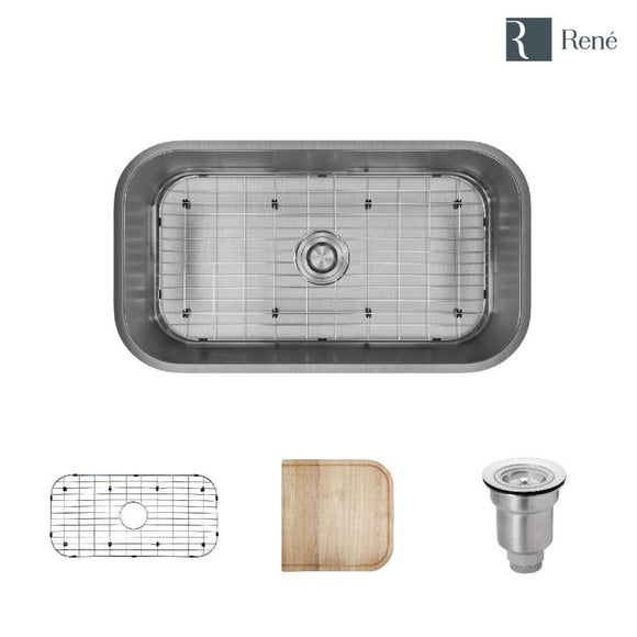 Rene R1-1024C-18 Single Bowl Undermount Stainless Steel Kitchen Sink in 18-Gauge with Cutting Board, Grid, and Basket Strainer