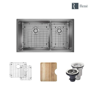 "Rene R1-1037L-18 Double Bowl 3/4"" Radius Stainless Steel Kitchen Sink in 18-Gauge with Cutting Board, Two Grids, and Two Strainers"