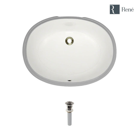 Rene R2-1005-B-PUD-BN Biscuit Oval Porcelain Bathroom Sink with Brushed Nickel Standard Pop-Up Drain