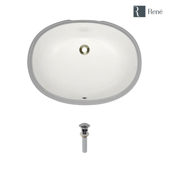 Rene R2-1005-B-PUD-C Biscuit Oval Porcelain Bathroom Sink with Chrome Standard Pop-Up Drain