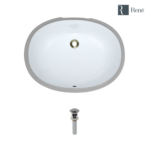 Rene R2-1005-W-PUD-C White Oval Porcelain Bathroom Sink with Chrome Standard Pop-Up Drain