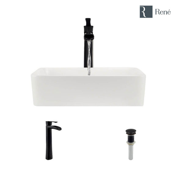 Rene R2-5007-B-R9-7007-ABR Biscuit Porcelain Vessel Sink with Antique Bronze Vessel Faucet and Vessel Pop-Up Drain