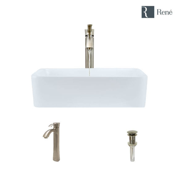 Rene R2-5007-W-R9-7006-BN White Porcelain Vessel Sink with Brushed Nickel Vessel Faucet and Vessel Pop-Up Drain