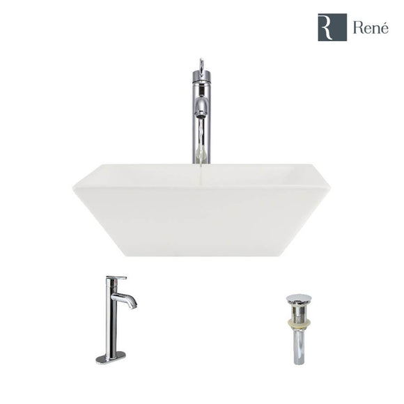 Rene R2-5010-B-R9-7001-C Biscuit Porcelain Vessel Sink with Chrome Vessel Faucet and Vessel Pop-Up Drain