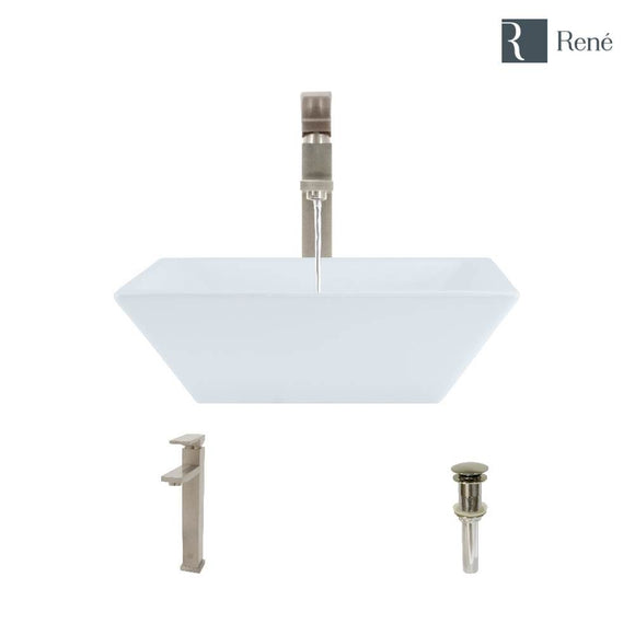 Rene R2-5010-W-R9-7003-BN White Porcelain Vessel Sink with Brushed Nickel Vessel Faucet and Vessel Pop-Up Drain