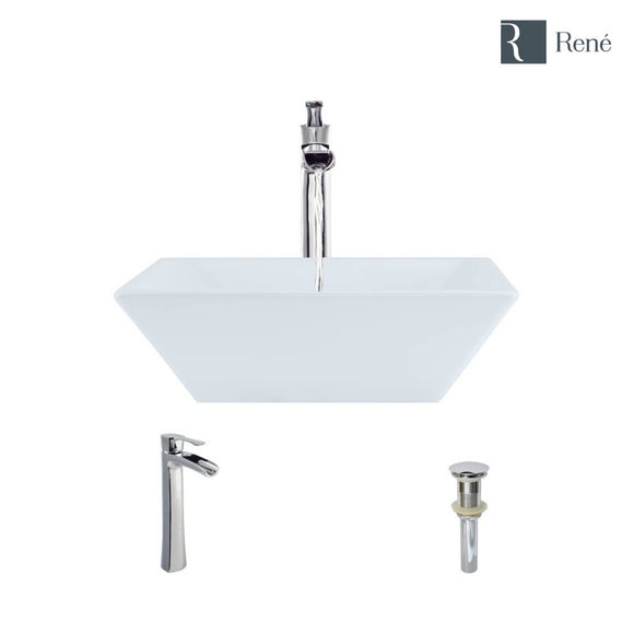 Rene R2-5010-W-R9-7007-C White Porcelain Vessel Sink with Chrome Vessel Faucet and Vessel Pop-Up Drain