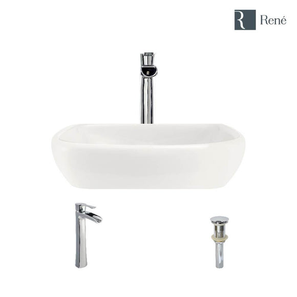 Rene R2-5011-B-R9-7007-C Biscuit Porcelain Vessel Sink with Chrome Vessel Faucet and Vessel Pop-Up Drain