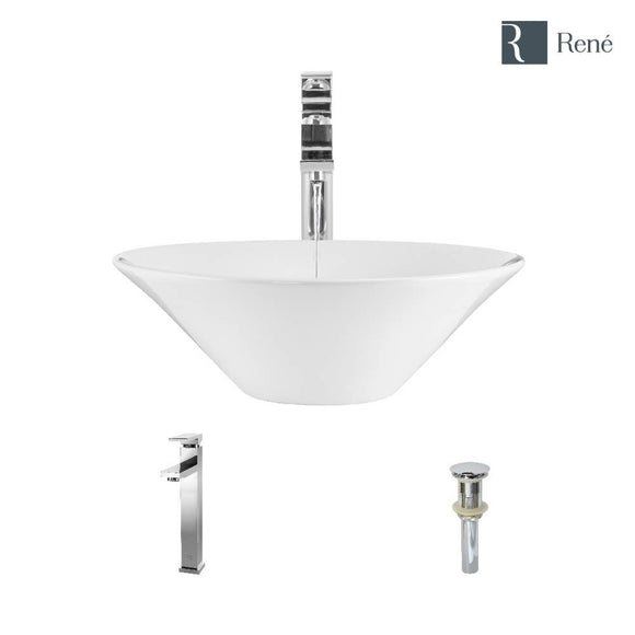 Rene R2-5015-W-R9-7003-C White Porcelain Vessel Sink with Chrome Vessel Faucet and Vessel Pop-Up Drain