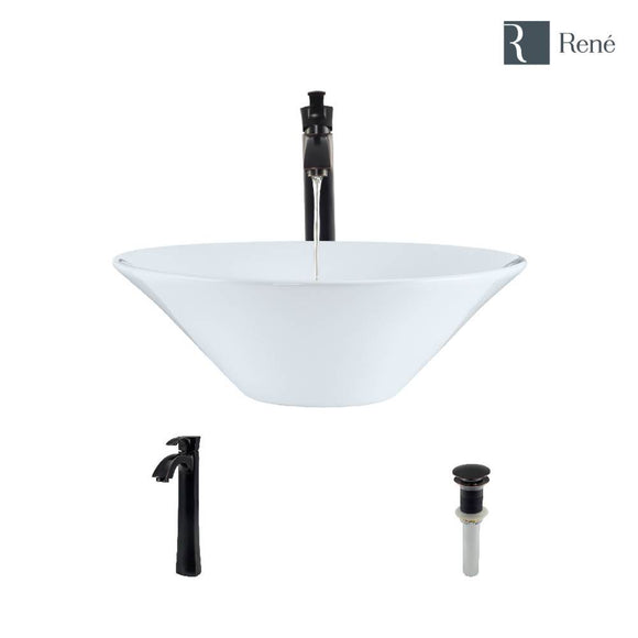 Rene R2-5015-W-R9-7006-ABR White Porcelain Vessel Sink with Antique Bronze Vessel Faucet and Vessel Pop-Up Drain