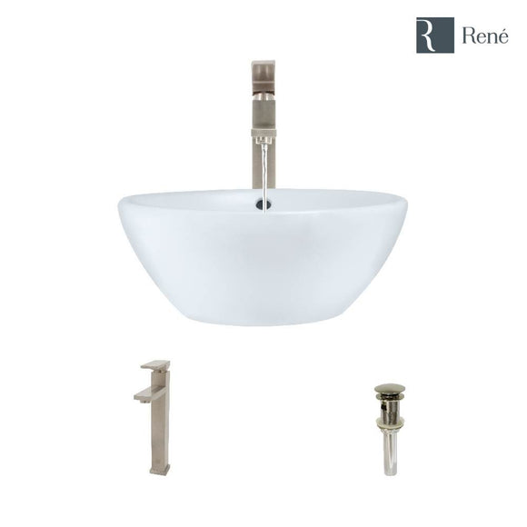 Rene R2-5031-W-R9-7003-BN White Porcelain Vessel Sink with Brushed Nickel Vessel Faucet and Vessel Pop-Up Drain