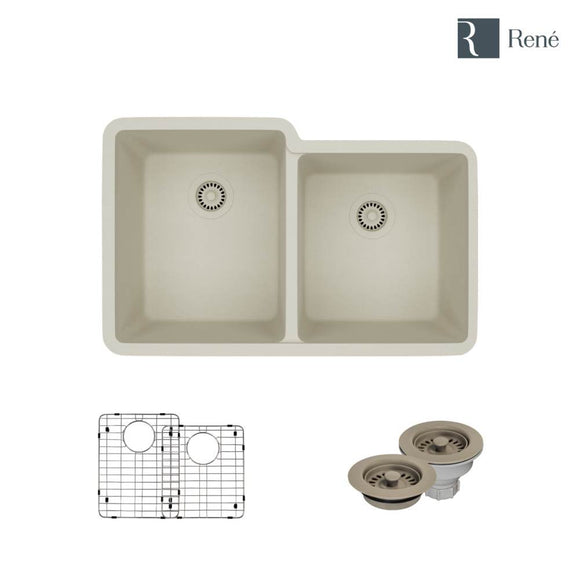 Rene R3-1001-CON-ST-CGF Concrete Offset Double Bowl Composite Granite Kitchen Sink with Two Grids and Matching Colored Strainer and Flange