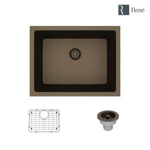 Rene R3-1004-UMB-ST-CGS Umber Single Bowl Composite Granite Kitchen Sink with Grid and Matching Colored Strainer