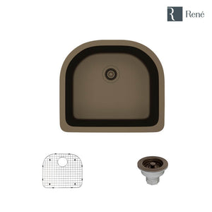 Rene R3-1005-UMB-ST-CGS Umber D-Bowl Composite Granite Kitchen Sink with Grid and Matching Colored Strainer