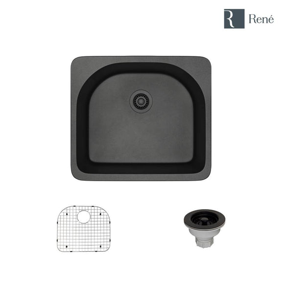 Rene R3-2005-CAR-ST-CGS Carbon Topmount D-Bowl Composite Granite Kitchen Sink with Grid and Matching Colored Strainer