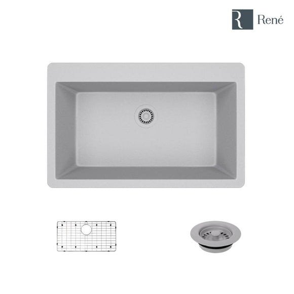 Rene R3-2006-PWT-ST-CGF Pewter Topmount Single Bowl Composite Granite Kitchen Sink with Grid and Matching Colored Flange