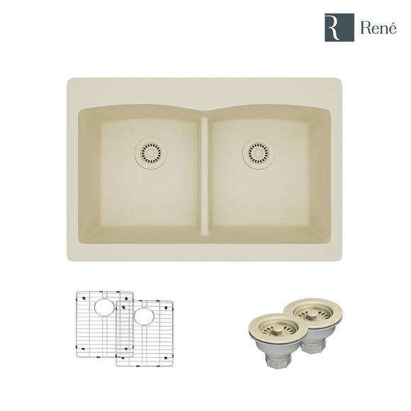 Rene R3-2007-ECR-ST-CGS Ecru Topmount Low Divide Composite Granite Kitchen Sink with Two Grids and Two Matching Colored Strainers