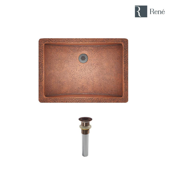 Rene R4-1006-GD-ORB Single Bowl Copper Sink with Oil Rubbed Bronze Grid Drain