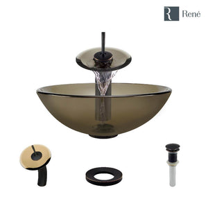 Rene R5-5001-CAS-WF-ABR Cashmere Colored Glass Vessel Sink with Antique Bronze Waterfall Faucet, Sink Ring, and Vessel Pop-Up Drain
