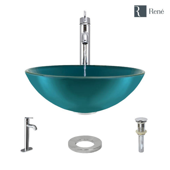 Rene R5-5001-CER-R9-7001-C Cerulean Colored Glass Vessel Sink with Chrome Vessel Faucet, Sink Ring, and Vessel Pop-Up Drain