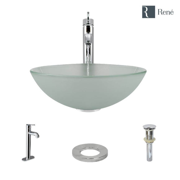 Rene R5-5002-R9-7001-C Frosted Glass Vessel Sink with Chrome Vessel Faucet, Sink Ring, and Vessel Pop-Up Drain