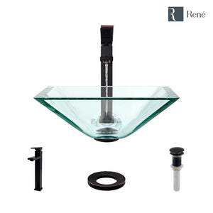 Rene R5-5003-CRY-R9-7003-ABR Crystal Glass Vessel Sink with Antique Bronze Vessel Faucet, Sink Ring, and Vessel Pop-Up Drain