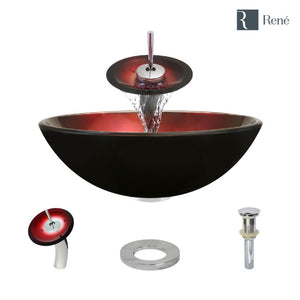 Rene R5-5007-WF-C Foil Undertone Glass Vessel Sink with Chrome Waterfall Faucet, Sink Ring, and Vessel Pop-Up Drain