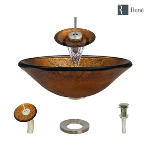Rene R5-5013-WF-BN Foil Undertone Glass Vessel Sink with Brushed Nickel Waterfall Faucet, Sink Ring, and Vessel Pop-Up Drain