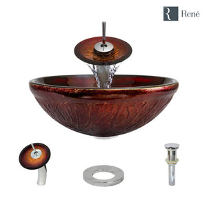 Rene R5-5018-WF-C Red Lava Glass Bathroom Sink with Chrome Waterfall Faucet, Sink Ring, and Vessel Pop-Up Drain