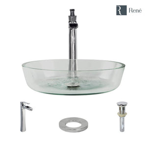 Rene R5-5024-R9-7007-C Clear Glass Vessel Bathroom Sink with Chrome Vessel Faucet and Vessel Pop-Up Drain