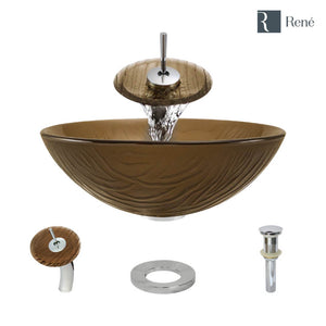 Rene R5-5025-WF-C Beach Sand Glass Vessel Bathroom Sink with Chrome Waterfall Faucet, Sink Ring, and Vessel Pop-Up Drain