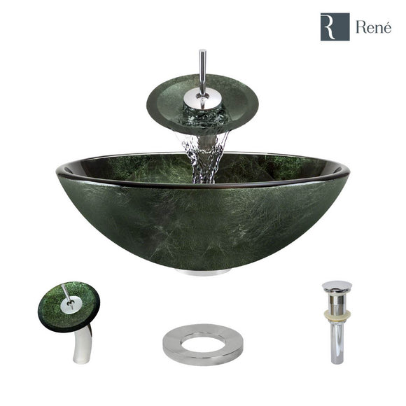 Rene R5-5027-WF-C Forest Green Glass Vessel Bathroom Sink with Chrome Waterfall Faucet, Sink Ring, and Vessel Pop-Up Drain