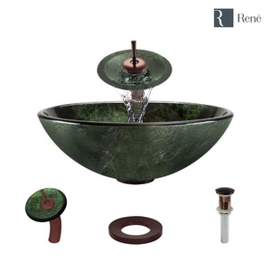 Rene R5-5027-WF-ORB Forest Green Glass Vessel Bathroom Sink with Oil Rubbed Bronze Waterfall Faucet, Sink Ring, and Vessel Pop-Up Drain