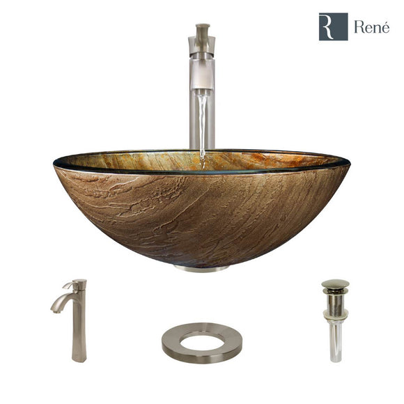 Rene R5-5030-R9-7006-BN Glass Vessel Bathroom Sink with Brushed Nickel Vessel Faucet, Sink Ring, and Vessel Pop-Up Drain