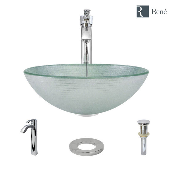Rene R5-5034-R9-7006-C Foil Undertone Glass Vessel Sink with Chrome Vessel Faucet, Sink Ring, and Vessel Pop-Up Drain