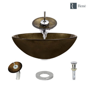 Rene R5-5035-WF-C Foil Undertone Glass Vessel Sink with Chrome Waterfall Faucet, Sink Ring, and Vessel Pop-Up Drain