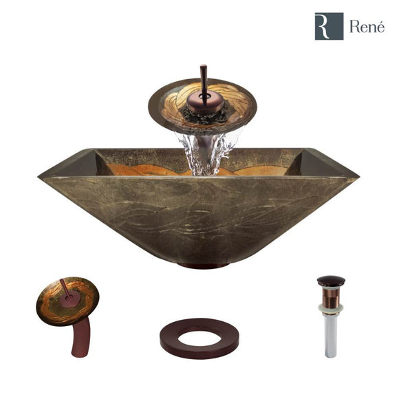 Rene R5-5036-WF-ORB Foil Undertone Glass Vessel Sink with Oil Rubbed Bronze Waterfall Faucet, Sink Ring, and Vessel Pop-Up Drain